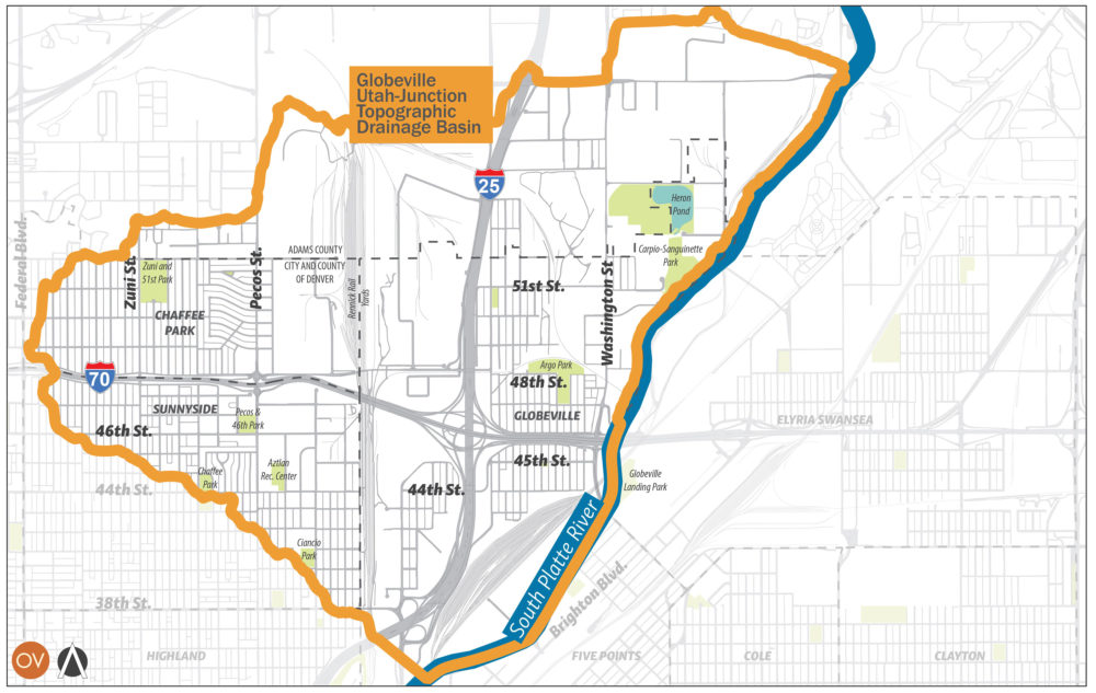 A map of the Globeville-Utah stormwater basin. (City and County of Denver)