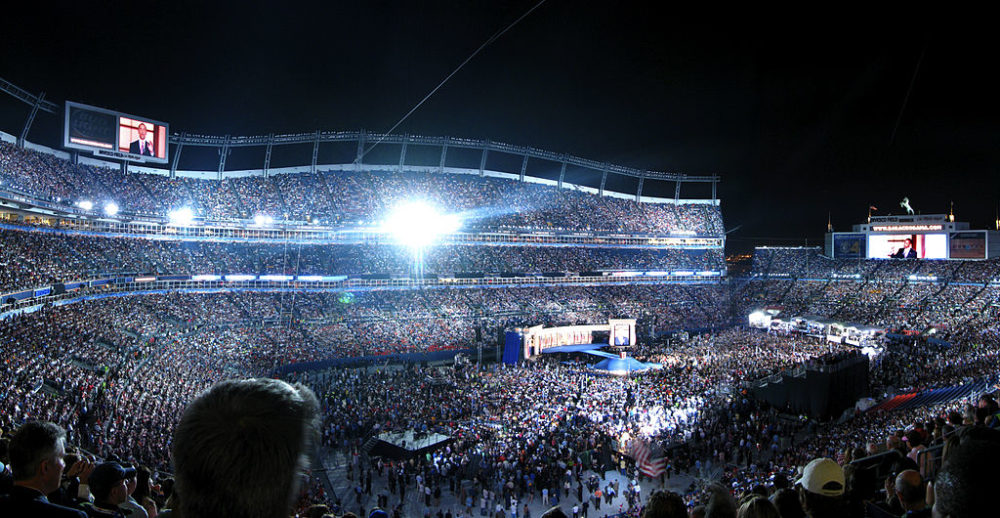 Barack Obama speaksat the 2008 Democratic National Convention at Denver's football stadium, then called Invesco Field, in 2008. (Ravedelay/Flickr/CC 2.0)