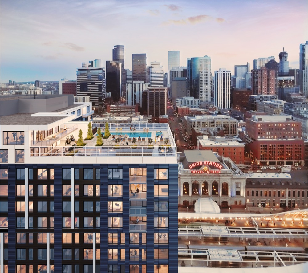 A rendering of The Coloradan building under construction near Union Station. (Courtesy East West Partners)