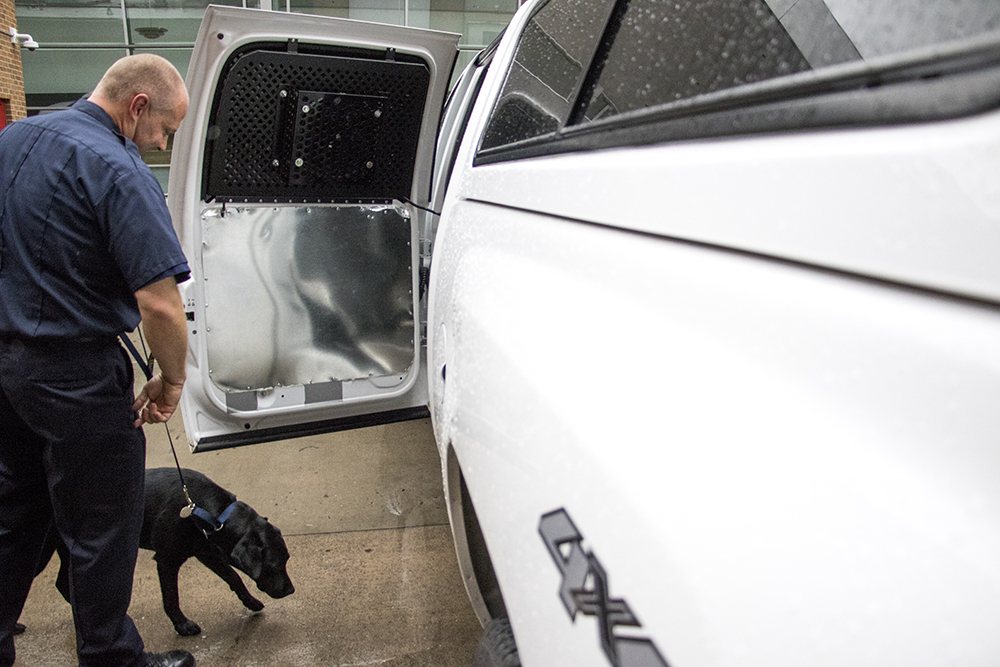 Denver Fire Department Technician Scott Renter loads Cora, the accelerant-sniffing dog, into his truck, May 3, 2018. (Kevin J. Beaty/Denverite)  pets; dogs; denver fire department; denver; colorado; denverite; kevinjbeaty;