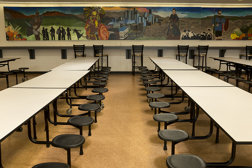 The cafeteria inside northeast Denver's Montbello campus, which will be updated soon with voter-approved bond funds, May 8, 2018. (Kevin J. Beaty/Denverite)  denver; colorado; denverite; kevinjbeaty; schools; education; montbello;