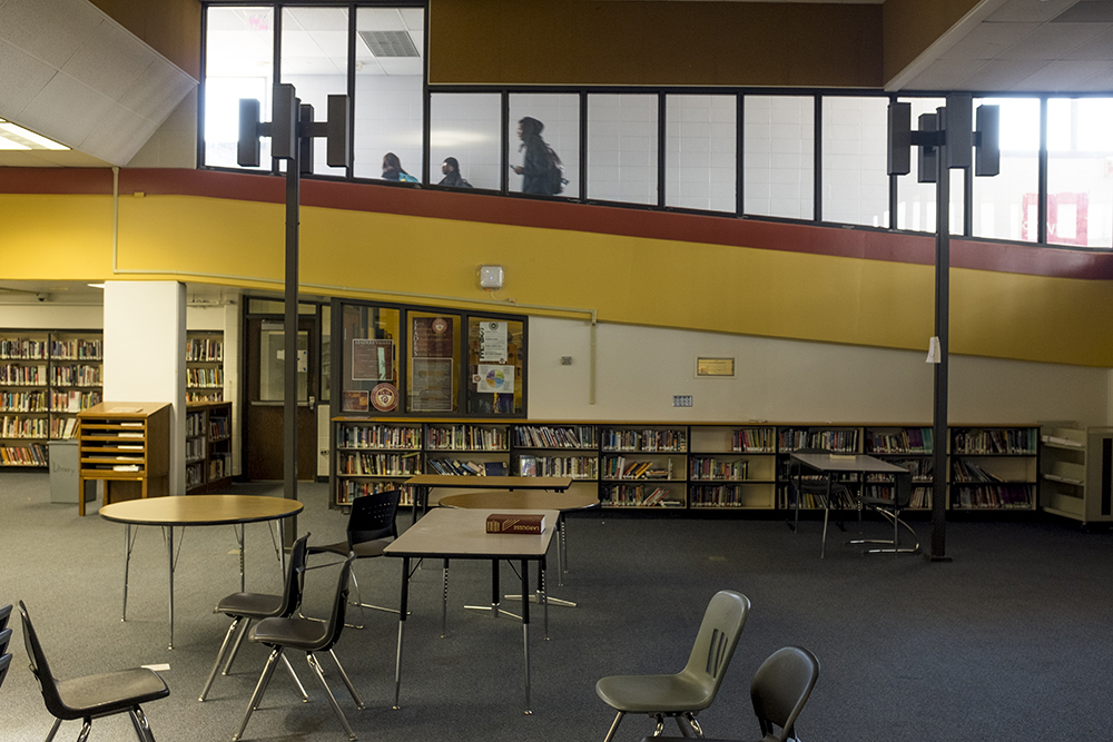 The library inside Northeast Denver's Montbello campus, which at the moment is not a full-service library but will be updated soon with voter-approved bond funds, May 8, 2018. (Kevin J. Beaty/Denverite)  denver; colorado; denverite; kevinjbeaty; schools; education; montbello;