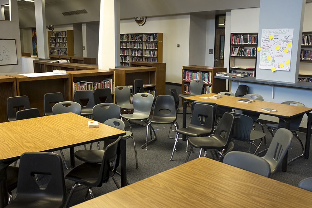 The library inside Northeast Denver's Montbello campus, which at the moment is not a full-service library but will be updated soon with voter-approved bond funds, May 8, 2018. (Kevin J. Beaty/Denverite)