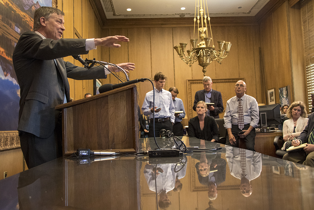 Governor John Hickenlooper meets with press after the 2018 legislative session has ended, May 10, 2018. (Kevin J. Beaty/Denverite)  copolitics; john hickenlooper; denver; colorado; denverite; kevinjbeaty;