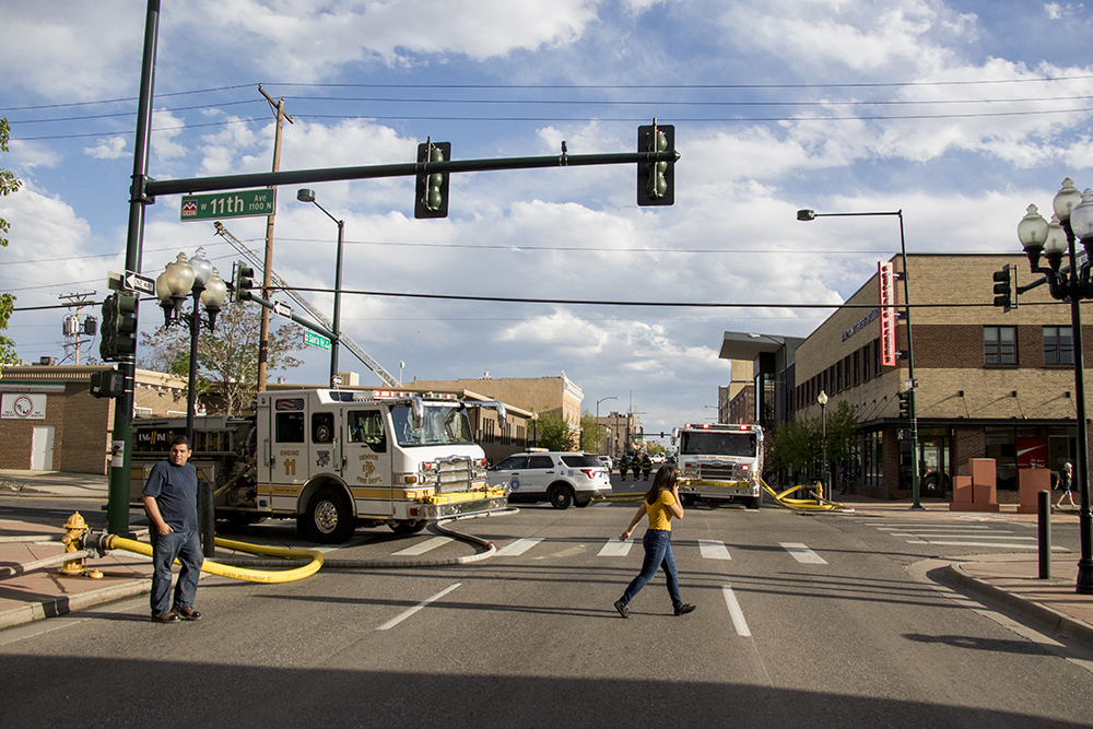 Santa Fe Drive was shut down after Tortillas Mexico broke out in flames on Thursday evening, May 10, 2018. (Kevin J. Beaty/Denverite)
