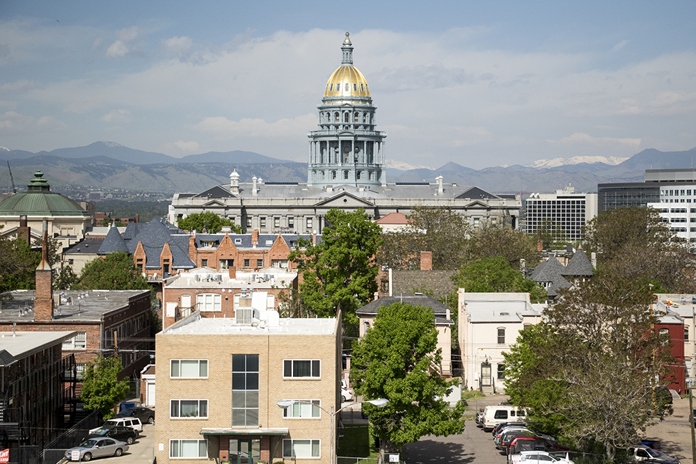 The view from the Saint Francis Apartments on Washington Street in Capitol Hill, May 1, 2018. (Kevin J. Beaty/Denverite)