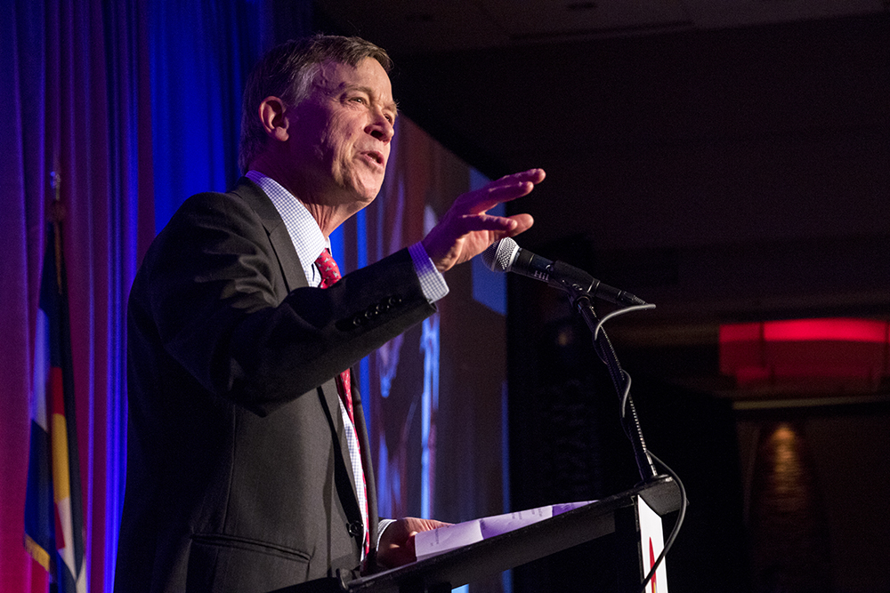 Governor John Hickenlooper speaks at the Denver Metro Chamber of Commerce's annual State of the State lunch, May 11, 2018. (Kevin J. Beaty/Denverite)  denver; colorado; denverite; copolitics; kevinjbeaty; john hickenlooper;