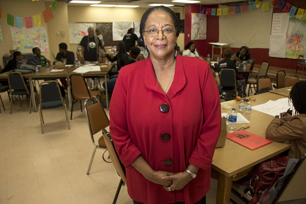 Dr. Sharon Bailey poses for a portrait during a breakout session at the Black Parent Empowerment Summit at Shorter Community AME Church, May 12, 2018. (Kevin J. Beaty/Denverite)  denver; colorado; denverite; education; shorter community ame church; activism; kevinjbeaty; skyland;