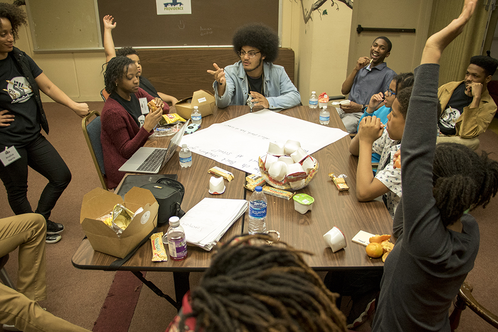 Elijah Beauford leads a youth breakout session on the school-to-prison-pipeline during the Black Parent Empowerment Summit at Shorter Community AME Church, May 12, 2018. (Kevin J. Beaty/Denverite)  denver; colorado; denverite; education; shorter community ame church; activism; kevinjbeaty; skyland;
