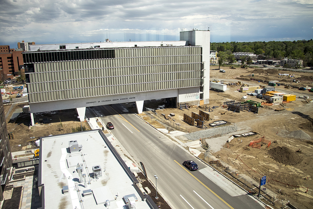 Construction at the former campus of the University of Colorado Health Sciences Center near 9th Avenue and Colorado Boulevard, May 14, 2018. (Kevin J. Beaty/Denverite)