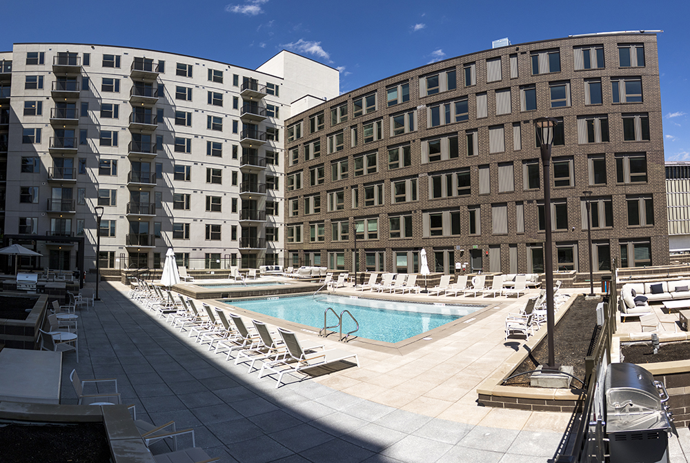 The pool at the Theo, the first residential building to open as part of the 9th Avenue and Colorado Boulevard projects, is finally open to renters, May 14, 2018. (Kevin J. Beaty/Denverite)