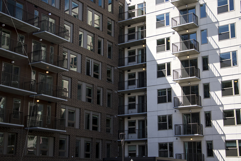 Theo, the first residential building to open as part of the 9th Avenue and Colorado Boulevard projects, is finally open to renters in Hale, May 14, 2018. (Kevin J. Beaty/Denverite)