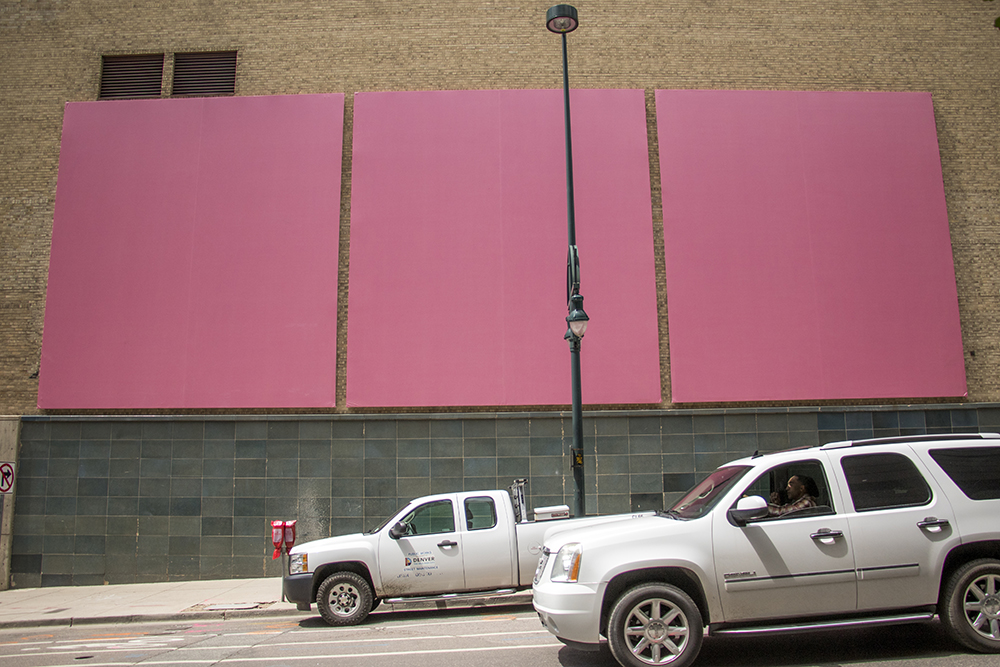 "John Roemer's ""Baker-MIller-Pink"" on Champa Street, May 15, 2018. (Kevin J. Beaty/Denverite)  denver; colorado; denverite; kevinjbeaty; art; happy city; downtown;"