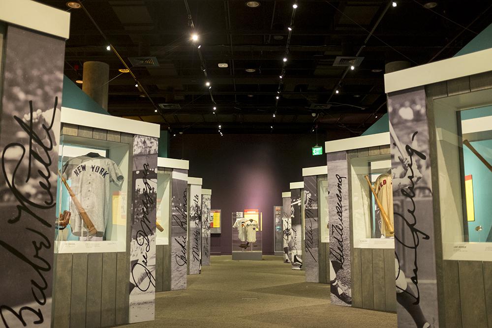 """""""Play Ball!,"""" the new special exhibit inside the History Colorado Center, May 17, 2018. (Kevin J. Beaty/Denverite)  denver; colorado; denverite; history colorado center; baseball; sports; kevinjbeaty;"""