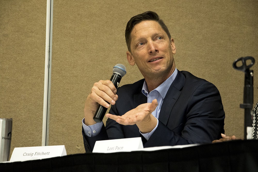 "Developer W. Craig Fitchett speaks on the Denver Metro Association of Realtors' panel, ""Gentrification or Revitalization?"" May 22, 2018. (Kevin J. Beaty/Denverite)  denver; colorado; denverite; kevinjbeaty;"