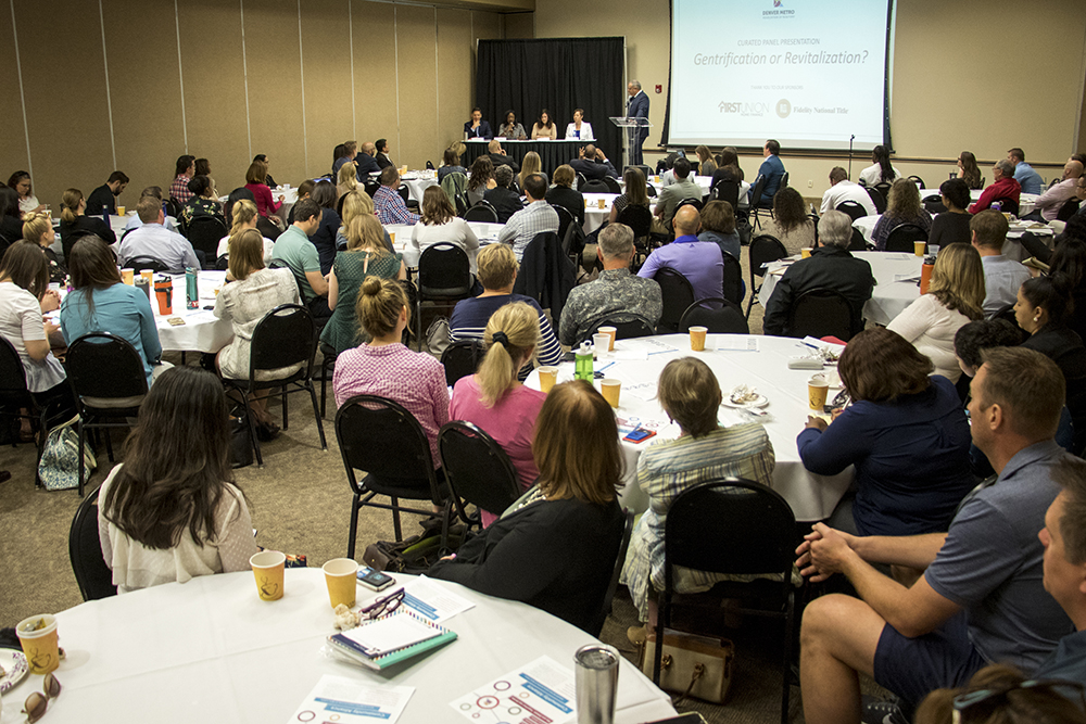 "The Denver Metro Association of Realtors holds a panel discussion titled, ""Gentrification or Revitalization?"" May 22, 2018. (Kevin J. Beaty/Denverite)  denver; colorado; denverite; kevinjbeaty;"