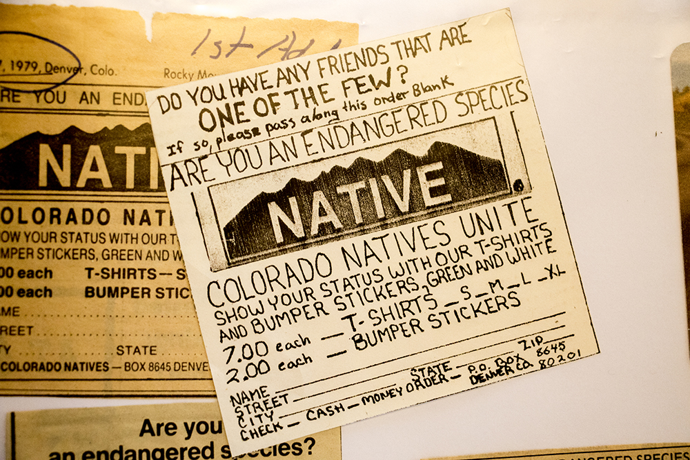 """Eric Glade's first order form, published in the Rocky Mountain News, for his """"NATIVE"""" bumper sticker invention, May 24, 2018. (Kevin J. Beaty/Denverite)"""