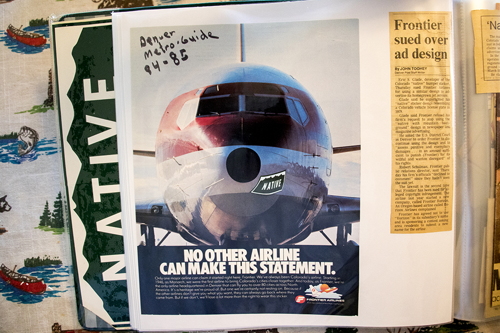 "A Frontier Airlines ad featuring Eric Glade's ""NATIVE"" bumper sticker design published in the 1984-1985 Denver Metro Guide. (Kevin J. Beaty/Denverite)  denver; colorado; denverite; kevinjbeaty; colorado native;"
