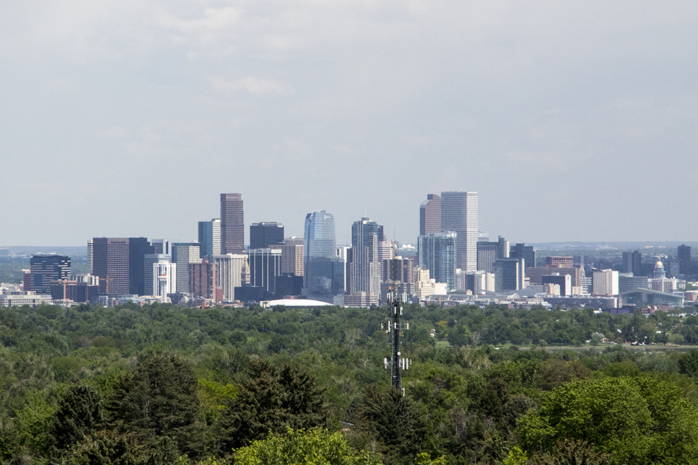 The view from atop the Tower of Memories in Lakewood's Olinger Crown Hill Mortuary & Cemetery, May 23, 2018. (Andrew Kenney/Denverite)  denver; colorado; denverite; kevinjbeaty; lakewood; cemetery; mausoleum;