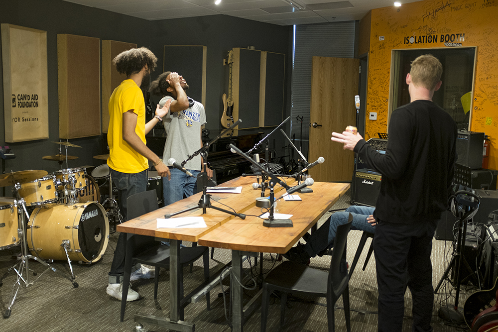 Youth on Record's music production studio in their Lincoln Park headquarters, May 23, 2018. (Kevin J. Beaty/Denverite)