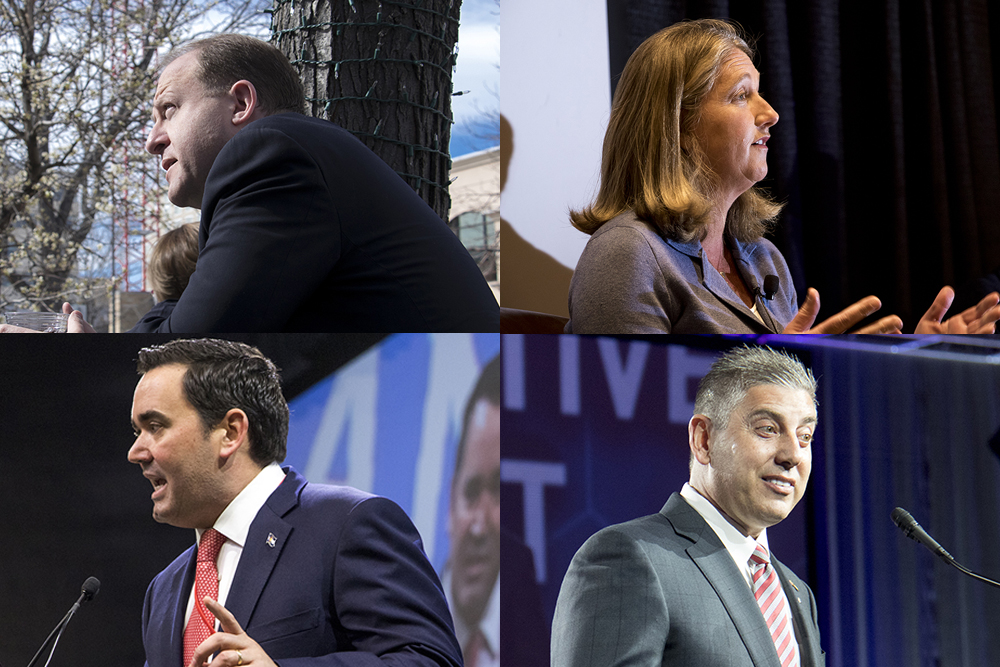 Colorado gubernatorial candidates Jared Polis (clockwise from top right), Cary Kennedy, Victor MItchell and Walker Stapleton. (Kevin J. Beaty/Denverite)