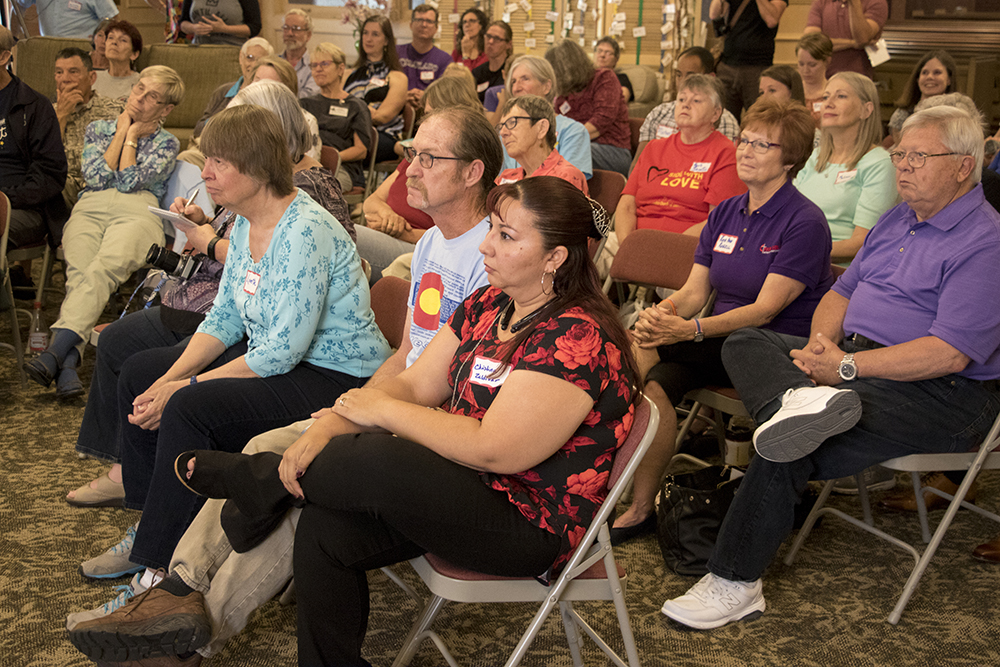 Diana DeGette meets with Araceli Velasquez, her family and supporters at Park Hill United Methodist Church and Temple Micah, where she's lived in sanctuary to avoid deportation for nearly 10 months. May 29, 2018. (Kevin J. Beaty/Denverite)  immigration; deportation; diana degette; denver; colorado; denverite; kevinjbeaty; south park hill;