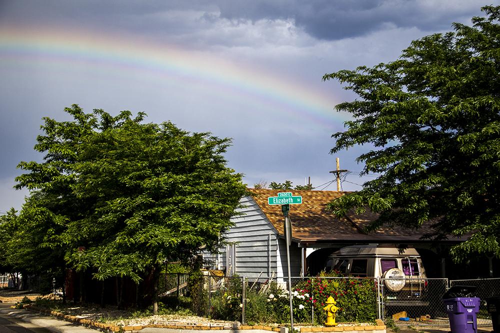Elyria Swansea under a spting shower, May 30, 2018. (Kevin J. Beaty)  denver; colorado; denverite; kevinjbeaty; rainbow; weather; cowx; spring;