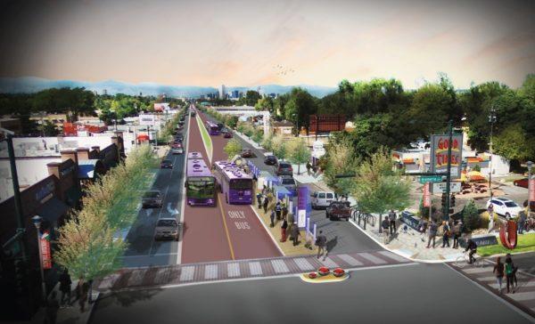 A rendering of bus rapid transit on Colfax. (Denver Public Works)