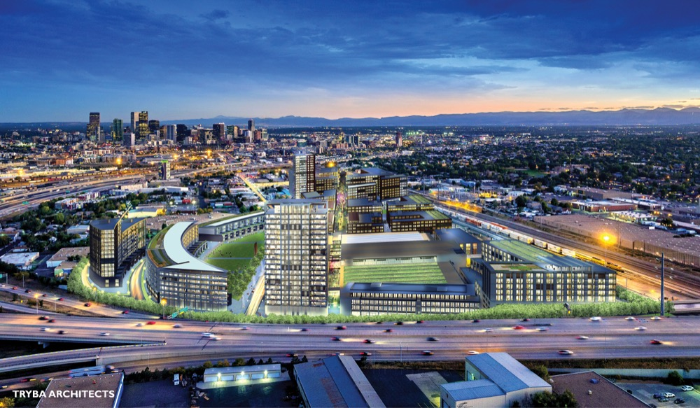 A rendering of hypothetical development that would be allowed under a rezoning for 4400 Fox Street. (Courtesy Tryba Architects)