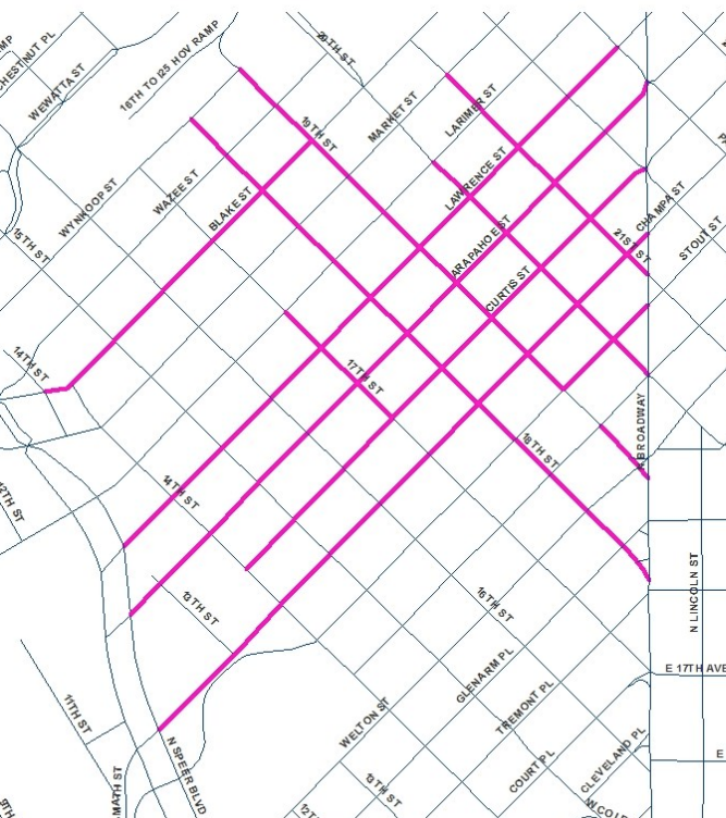 Denver's downtown paving plan for 2018.