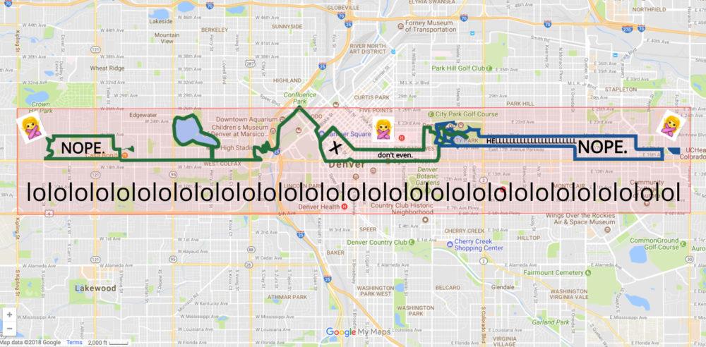 A traffic guide to the 2018 Colfax Marathon. Full marathon in green, half marathon in blue. (Ashley Dean/Denverite)