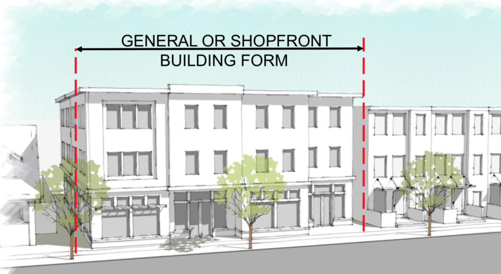 "An illustration of how new general/shopfront buildings could look in Denver's ""MX"" areas. (City and County of Denver)"