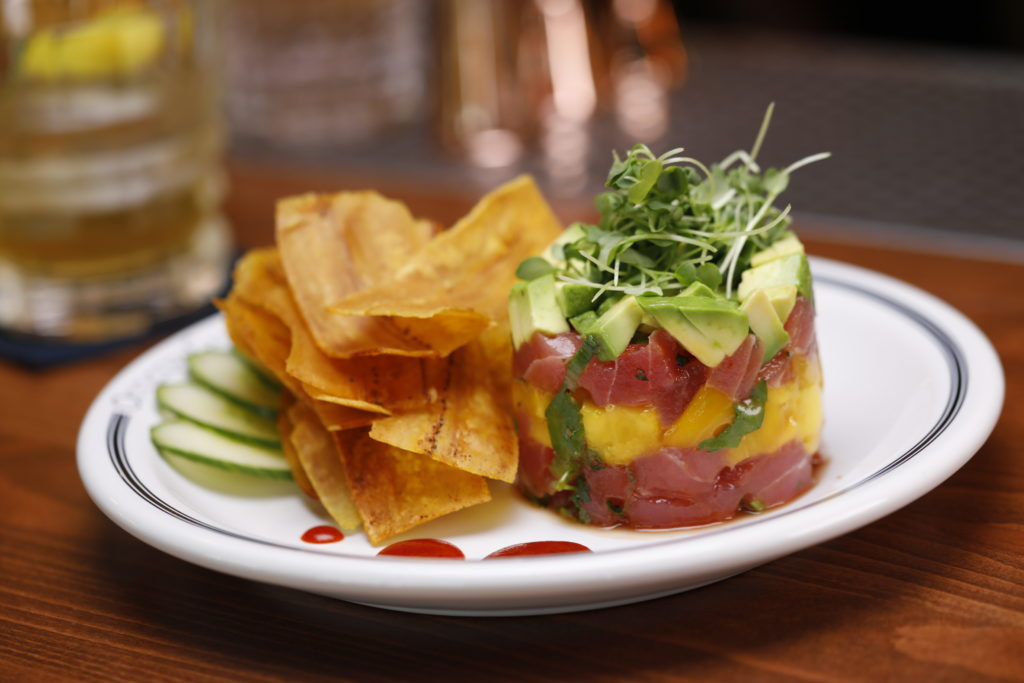 The Hawaiian ahi tuna poke tower at the Officers Club. (Photo: Marc Piscotty)
