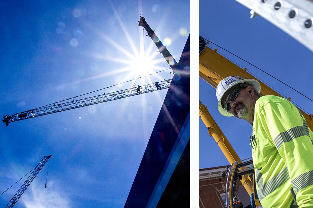 Jack West helps construct a tower crane on a jobsite on Pearl Street at 16th Avenue, April 15, 2018. (Kevin J. Beaty/Denverite)