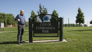 Denverite member Nikolaus Remus wants to know: what's the deal with these parks named after cities? June 13, 2018. (Kevin J. Beaty/Denverite)