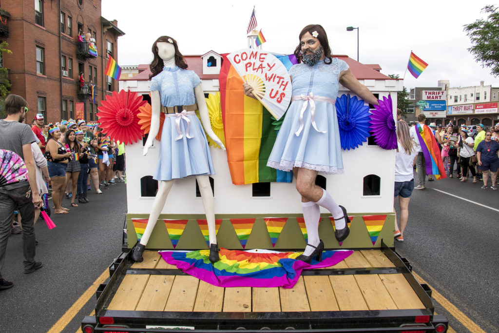 Joanne Fabrics rides dressed as a Stephen King character on the Stanley Hotel's float in the Denver PrideFest parade, June 17, 2018. (Kevin J. Beaty/Denverite)