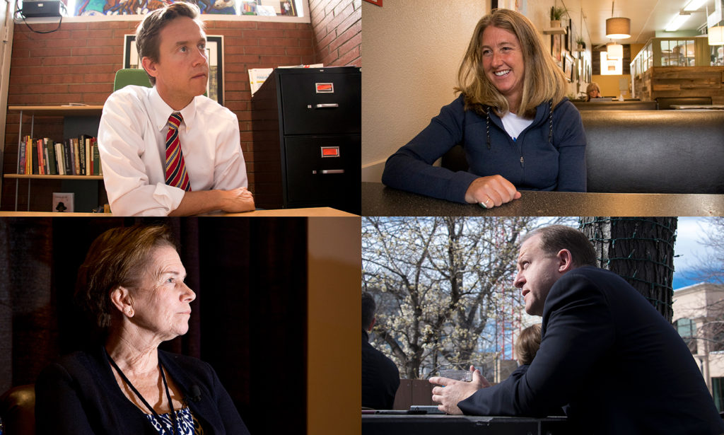 Democratic gubernatorial candidates Mike Johnston (clockwise from top left), Cary Kennedy, Jared Polis and Donna Lynne. (Kevin J. Beaty/Denverite)