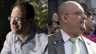 Colorado Attorney General candidates Phil Weiser (left) and Joe Salazar. (Kevin J. Beaty/Denverite)