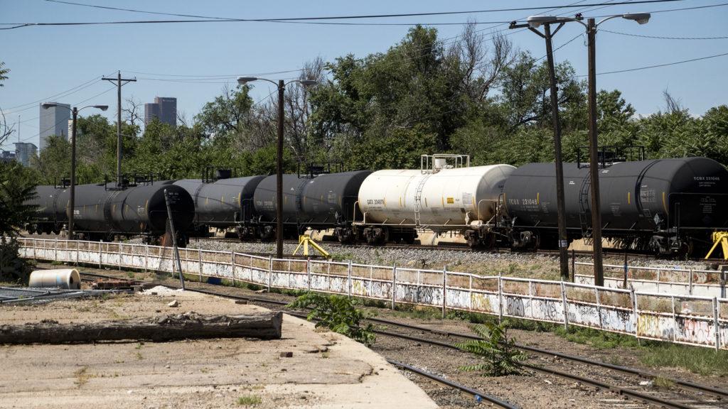 Railroad tracks threaded through the National Western Center, June 25, 2018. (Kevin J. Beaty/Denverite)