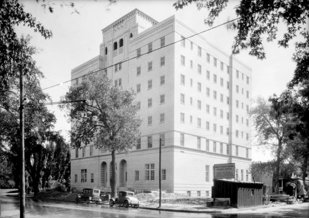 View of Tammen Hall (nurse's residence) at Children's Hospital in Denver, Colorado, 1932. (Harry Mellon Rhoads/Denver Public Library/Western History Collection/Rh-1123)