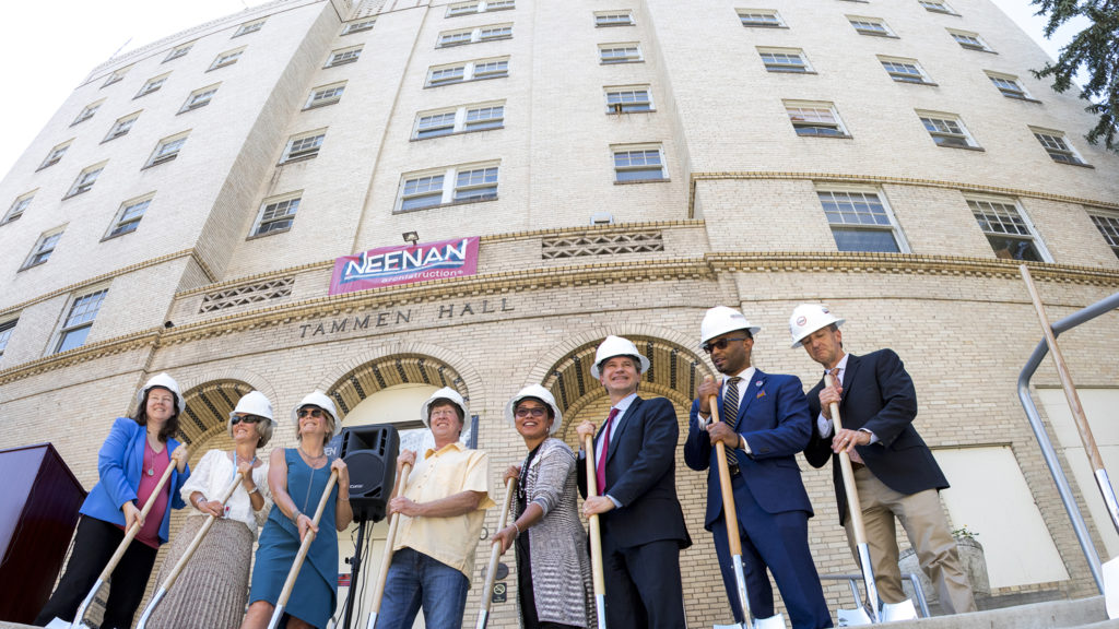 Groundbreaking at Tammen Hall on the campus of Saint Joseph Hospital, June 26, 2018. (Kevin J. Beaty/Denverite)