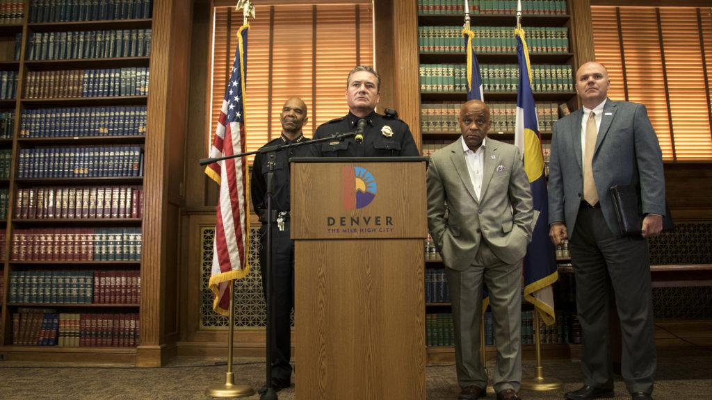 Denver Police Commander Paul Pazen speaks after Mayor Michael Hancock announced him as Denver's new police chief, June 28, 2018. (Kevin J. Beaty/Denverite)
