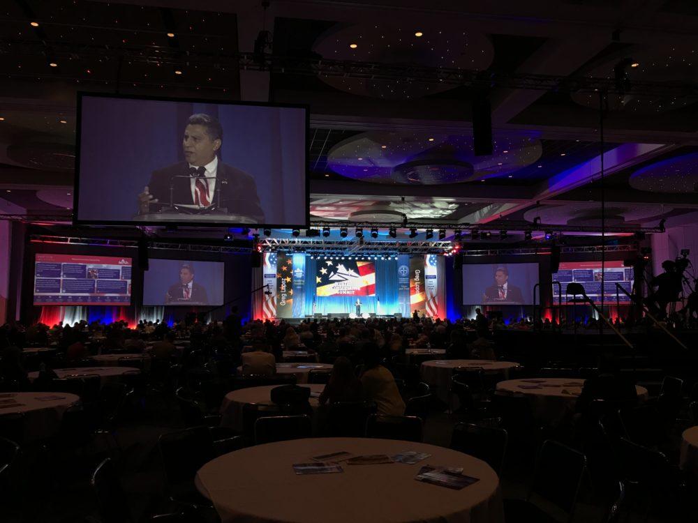 Republican gubernatorial candidate Greg Lopez speaks at the Western Conservative Summit on Saturday, June 9, at the Colorado Convention Center in Denver. (Esteban L. Hernandez/Denverite)