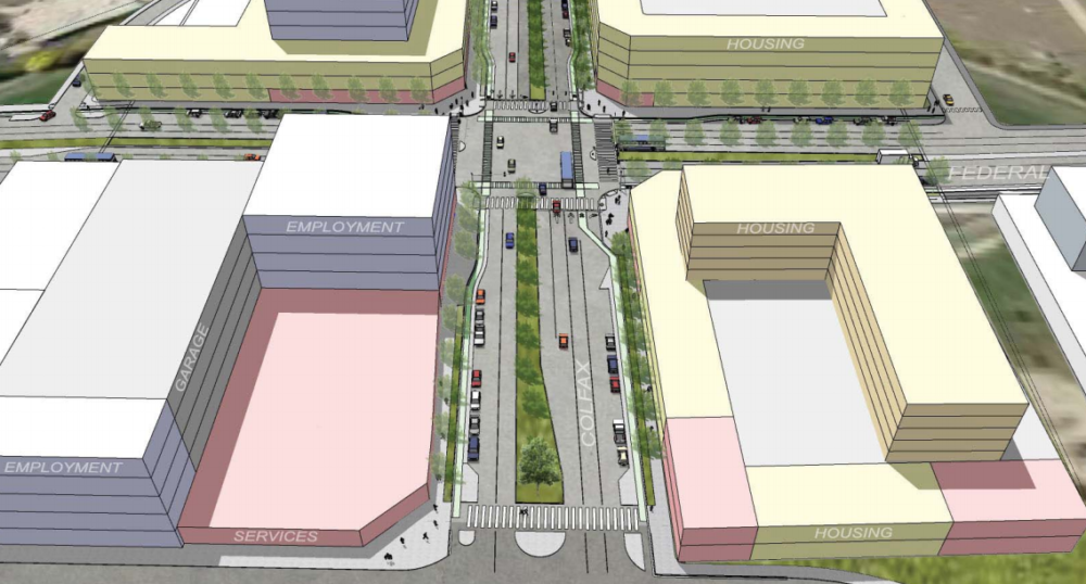 A rendering of an at-grade option for the intersection (eliminating the Federal bridge) (Courtesy of the West Colfax BID)