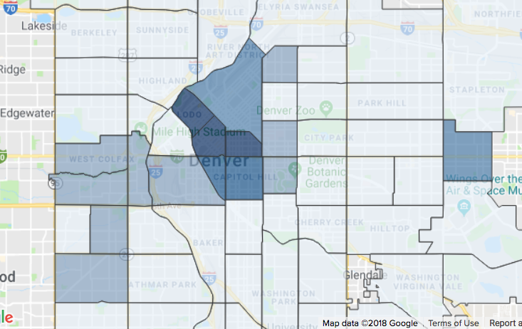Screen shot of violent crime by neighborhood on DPD crime map.