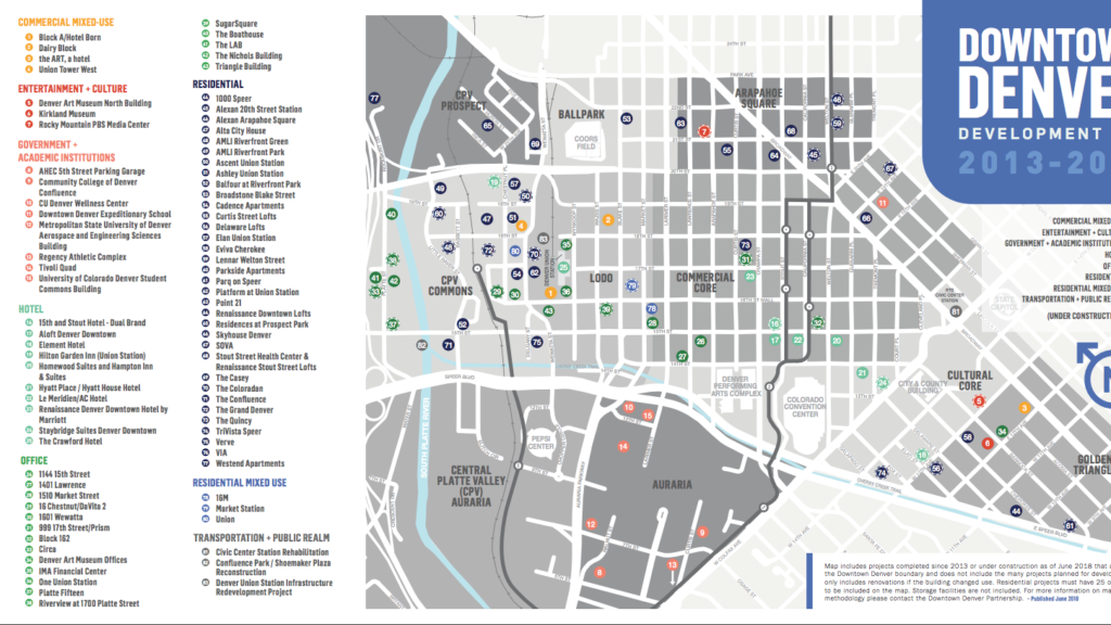 The Downtown Denver Partnership's Development Map that showcases projects happening now or in the future in the downtown area.