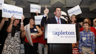 Walker Stapleton addresses supporters during his primary election watch party, June 26, 2018. (Alyson McClaran/For Denverite)