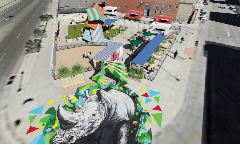 A rendering of a pocket park at Broadway and Blake. (Courtesy RiNo Art District, image by Davis Partnership Architects)