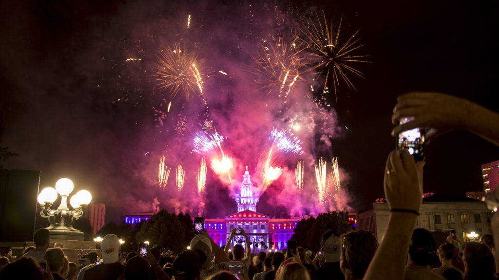 Fireworks end the evening at Denver's annual Independence Eve show. Civic Center Park, July 3, 2018. (Kevin J. Beaty/Denverite)