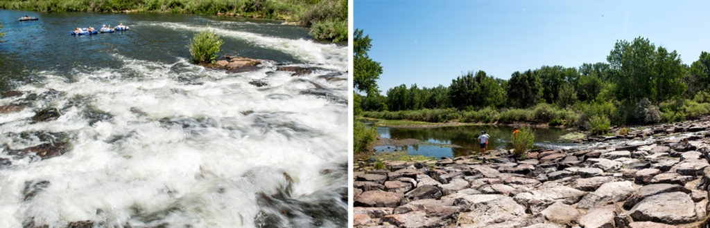 South Platte Park's tubing spot in 2017 (left) and 2018. (Kevin J. Beaty/Denverite)